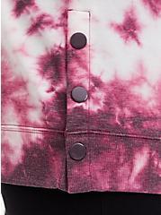 Burgundy Purple Tie-Dye Terry Button Side Tunic Hoodie, WINETASTING, alternate