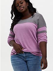 Berry Pink & Heather Grey Fleece Football Tunic Sweatshirt, PINK, alternate