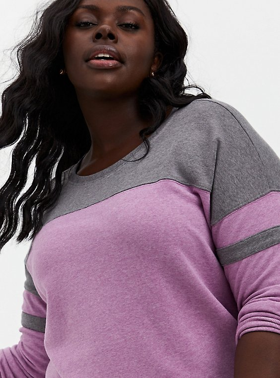 Berry Pink & Heather Grey Fleece Football Tunic Sweatshirt, PINK, hi-res