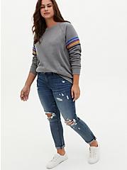 Grey & Multi Stripe Fleece Sweatshirt, HEATHER GREY, alternate