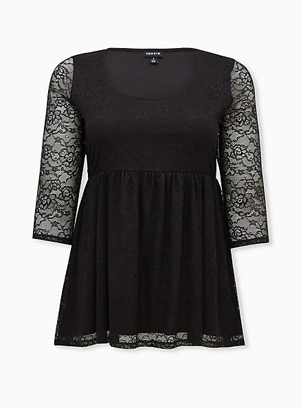 Super Soft & Lace Black Babydoll Tunic, DEEP BLACK, hi-res