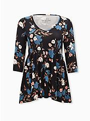 Super Soft Black Floral Babydoll Tunic, DEEP BLACK, hi-res