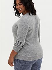 Super Soft Plush Grey Long Sleeve V-Neck Tee, HEATHER GREY, alternate