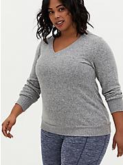 Super Soft Plush Grey Long Sleeve V-Neck Tee, HEATHER GREY, hi-res