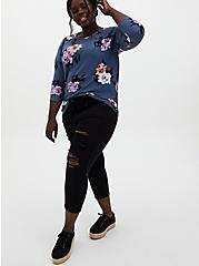 Long Sleeve Crew Tee - Super Soft Plush Floral Vintage Indigo , , alternate