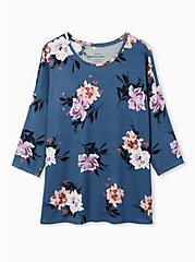 Long Sleeve Crew Tee - Super Soft Plush Floral Vintage Indigo , , hi-res