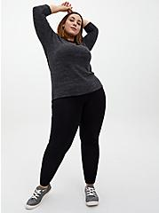 Super Soft Plush Black Long Sleeve Crew Tee, DEEP BLACK, alternate