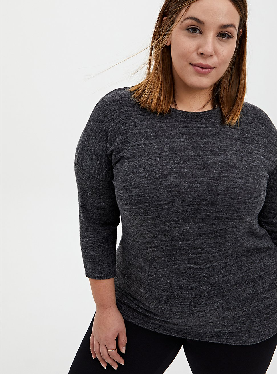 Super Soft Plush Black Long Sleeve Crew Tee, DEEP BLACK, hi-res