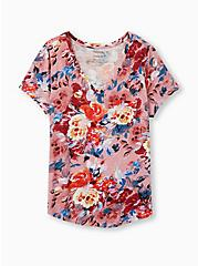 Girlfriend Tee - Heritage Slub Floral Rose Pink, , hi-res