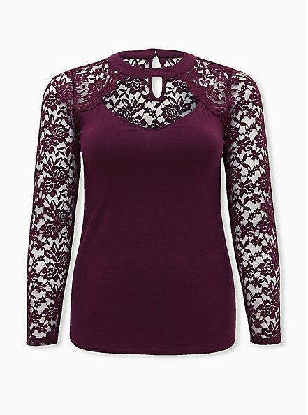 Plus Size Burgundy Purple High Neck Lace & Foxy Top, WINETASTING, hi-res