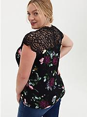 Plus Size Black Floral Studio Knit & Lace Top, DEEP BLACK, alternate