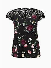 Plus Size Black Floral Studio Knit & Lace Top, DEEP BLACK, hi-res