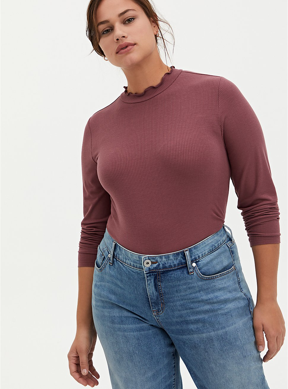Plus Size  Dusty Pink Mock Neck Ribbed Lettuce Edge Tee, , hi-res