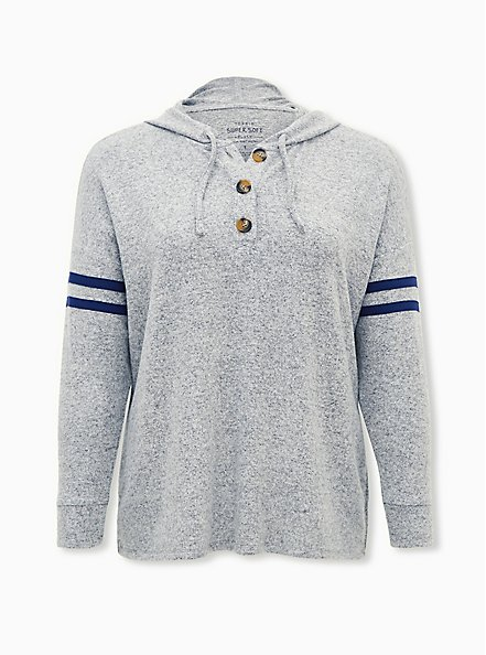 Super Soft Plush Grey & Navy Button Down Football Hoodie , HEATHER GREY, hi-res