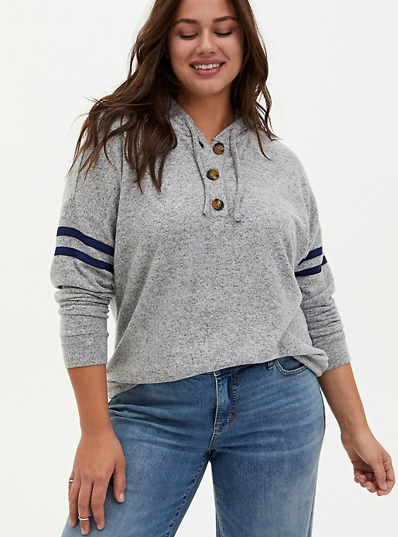 Super Soft Plush Grey & Navy Button Down Football Hoodie , , hi-res