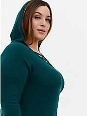 Super Soft Plush Teal Lace-Up Hoodie , , alternate