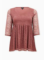 Super Soft & Lace Walnut Babydoll Tunic, , hi-res