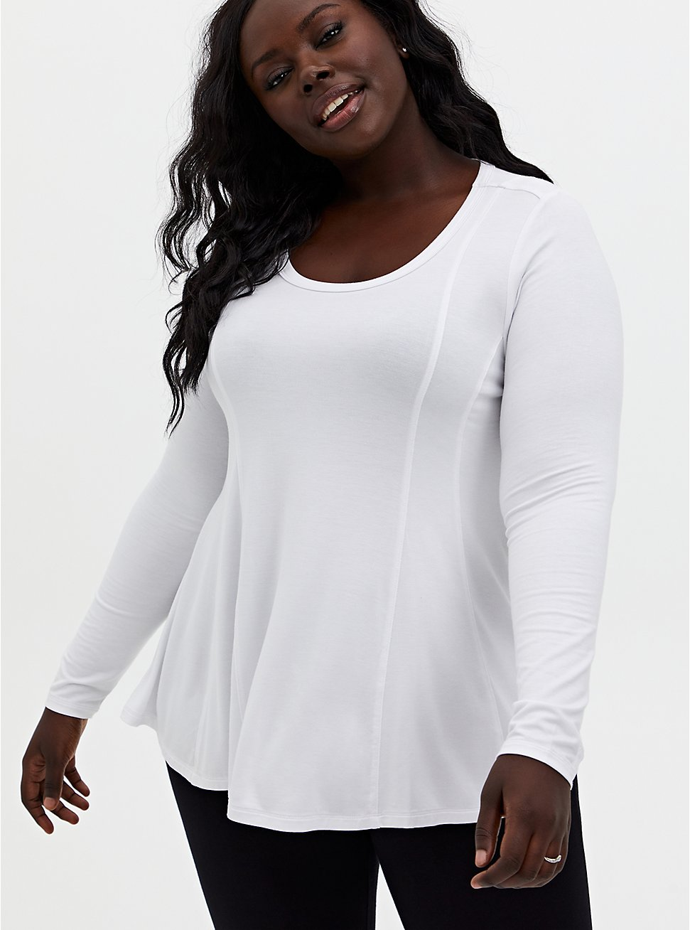 Super Soft White Long Sleeve Fit & Flare Top, , hi-res