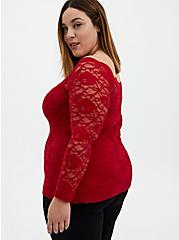 Red Lace Boatneck Top, , alternate