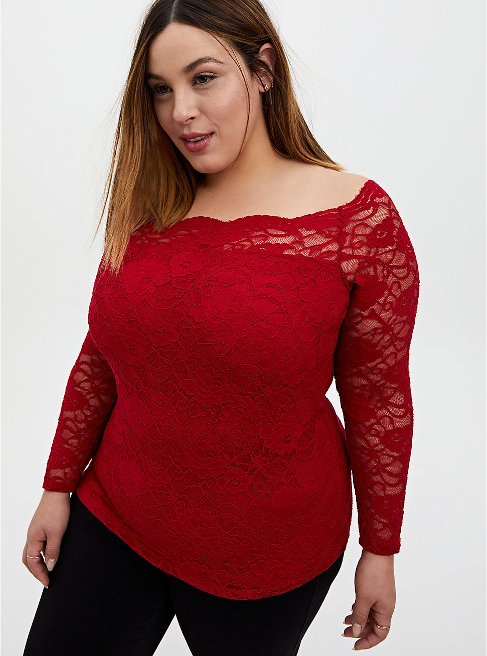 Red Lace Boatneck Top, , hi-res