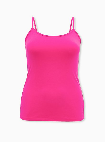 Hot Pink Scoop Neck Foxy Cami, , hi-res