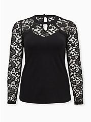 Black High Neck Lace & Foxy Top, DEEP BLACK, hi-res