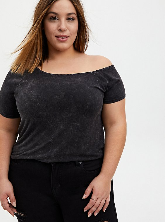 Off Shoulder Tee - Super Soft Mineral Wash Black, , hi-res