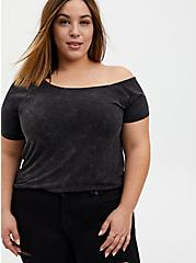Off Shoulder Tee - Super Soft Mineral Wash Black, DEEP BLACK, hi-res
