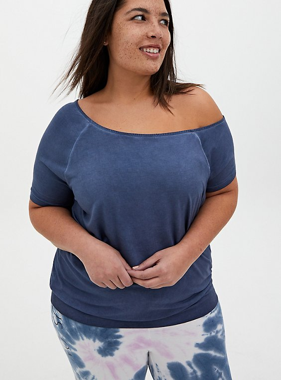 Off Shoulder Tee - Super Soft Vintage Indigo, , hi-res