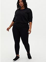 Black Shimmer Star Fleece Sweatshirt, DEEP BLACK, alternate