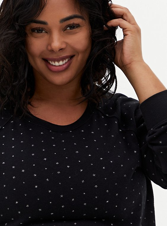 Black Shimmer Star Fleece Sweatshirt, DEEP BLACK, hi-res