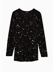 Black Paint Splatter Waffle-Knit Long Sleeve Tee, DEEP BLACK, hi-res