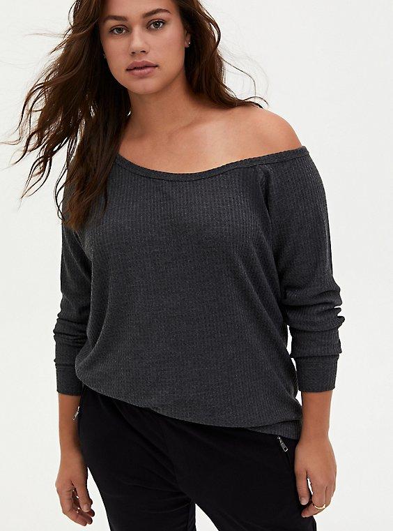 Charcoal Grey Waffle Knit Off Shoulder Tunic Sweatshirt, , hi-res
