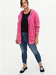 Neon Pink Mineral Wash Fleece Zip Tunic Hoodie, , alternate