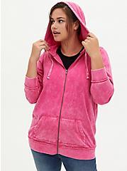 Neon Pink Mineral Wash Fleece Zip Tunic Hoodie, , alternate