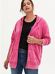Neon Pink Mineral Wash Fleece Zip Tunic Hoodie, , hi-res