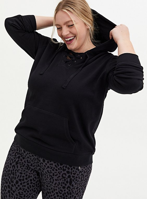 Black Lace-Up Fleece Sweatshirt, , hi-res