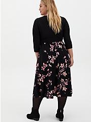Black Floral Knit-To-Woven Skater Midi Dress, FLORAL - BLACK, alternate