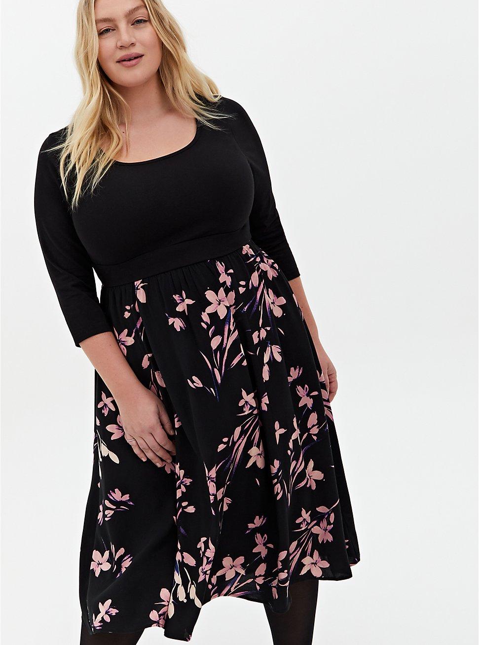 Black Floral Knit-To-Woven Skater Midi Dress, FLORAL - BLACK, hi-res