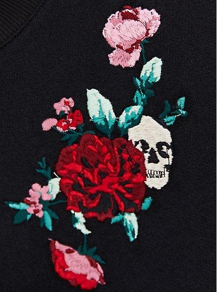 Black Terry Embroidered Shift Dress, DEEP BLACK, alternate