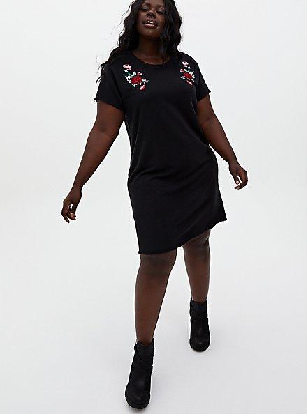 Black Terry Embroidered Shift Dress, DEEP BLACK, hi-res