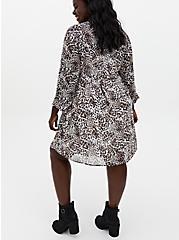 Leopard Chiffon Button Front Shirt Dress, LEOPARD-WHITE, alternate