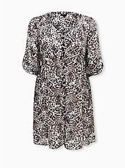 Leopard Chiffon Button Front Shirt Dress, LEOPARD-WHITE, hi-res