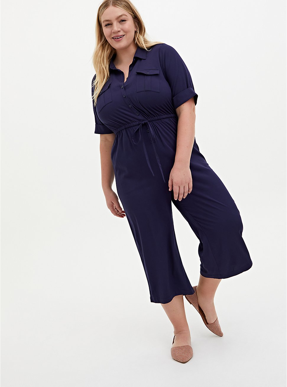 Navy Challis Button Down Drawstring Utility Culotte Jumpsuit, PEACOAT, hi-res