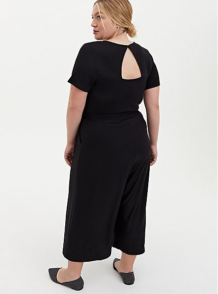 Plus Size Black Textured Knit Surplice Culotte Jumpsuit, DEEP BLACK, alternate
