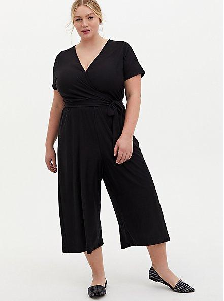 Plus Size Black Textured Knit Surplice Culotte Jumpsuit, DEEP BLACK, hi-res