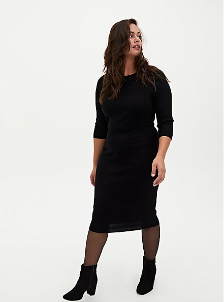 Black Sweater Shift Midi Dress, DEEP BLACK, alternate