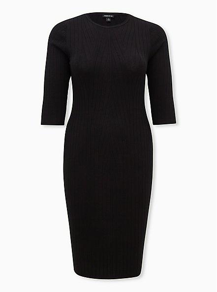 Black Sweater Shift Midi Dress, DEEP BLACK, hi-res
