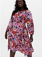 Blush Pink Floral Georgette Midi Dress, FLORAL - PINK, alternate