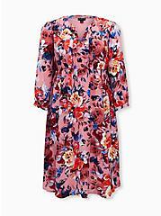 Blush Pink Floral Georgette Midi Dress, FLORAL - PINK, hi-res